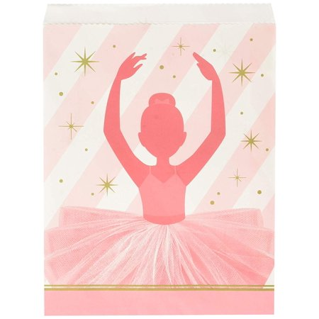 Twinkle Toes Ballerina Paper Treat Bags Party Supplies, Multicolor, Each bag measures 8.75 inches tall X 6 inches wide. By Creative Converting - Ballerina Party Supplies