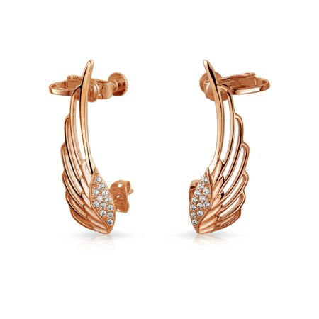 Guardian Angel Wing Feather Cartilage Right Ear Cuff Wrap Climber Helix Earring Rose Gold Plate Brass Adjustable -