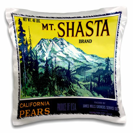 3dRose Mt. Shasta Brand California Pears Mountain Landscape with Tall Pines, Pillow Case, 16 by 16-inch