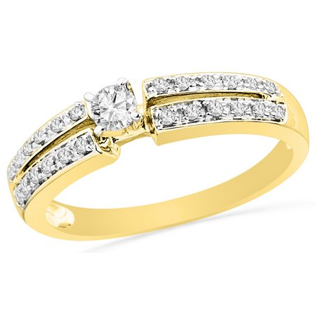 Size - 7 - Solid 10k Yellow Gold Round White Diamond Engagement Ring OR Fashion Band Prong Set Solitaire Shaped Ring (1/4 cttw)