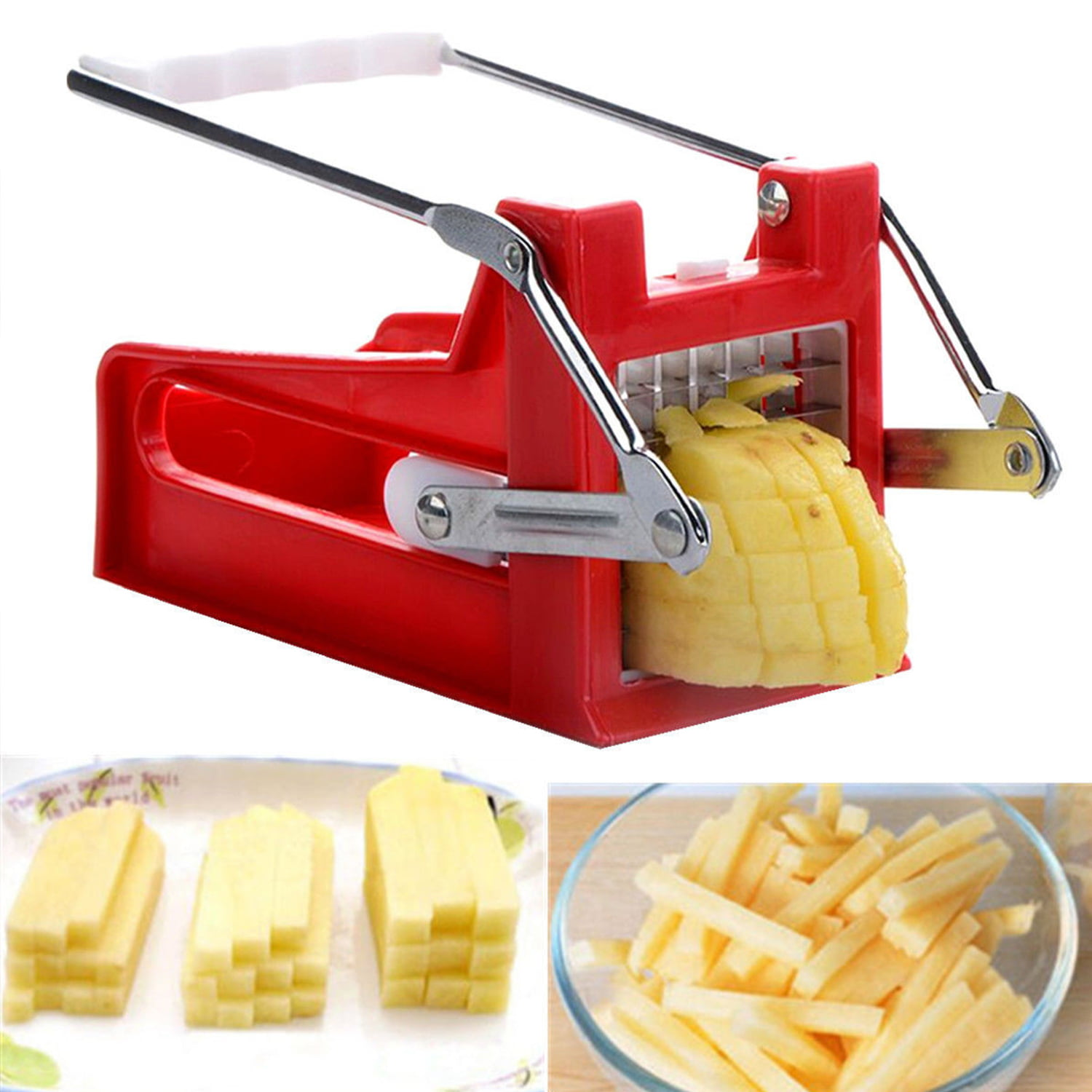 French Fry Cutter, Stainless Steel French Fry Cutter Potato 25 Holds 2 Blades Vegetable... by
