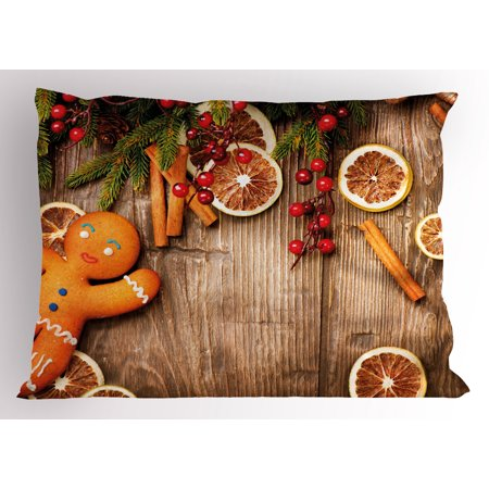 Gingerbread Man Pillow Sham Rustic Composition with Holly Berry Orange Slice Cinnamon and Biscuit, Decorative Standard Queen Size Printed Pillowcase, 30 X 20 Inches, Brown Orange Red, by Ambesonne