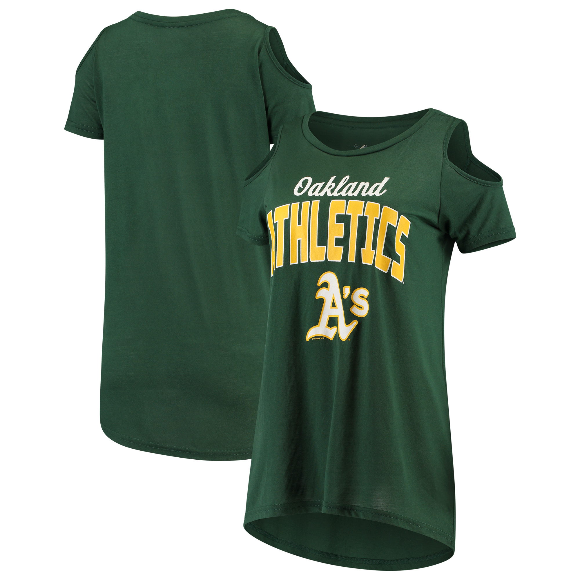 Oakland Athletics G-III 4Her by Carl Banks Women's Clear the Bases Cold Shoulder T-Shirt - Green