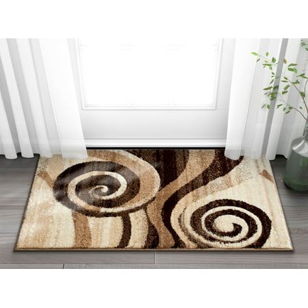 Well Woven Desert Swirl Brown Beige Modern Geometric Comfy Casual Spiral Hand Carved 2x3 (2' x 3') Area Rug Easy to Clean Stain Fade Resistant Contemporary Thick Soft Plush Living Dining Room Rug