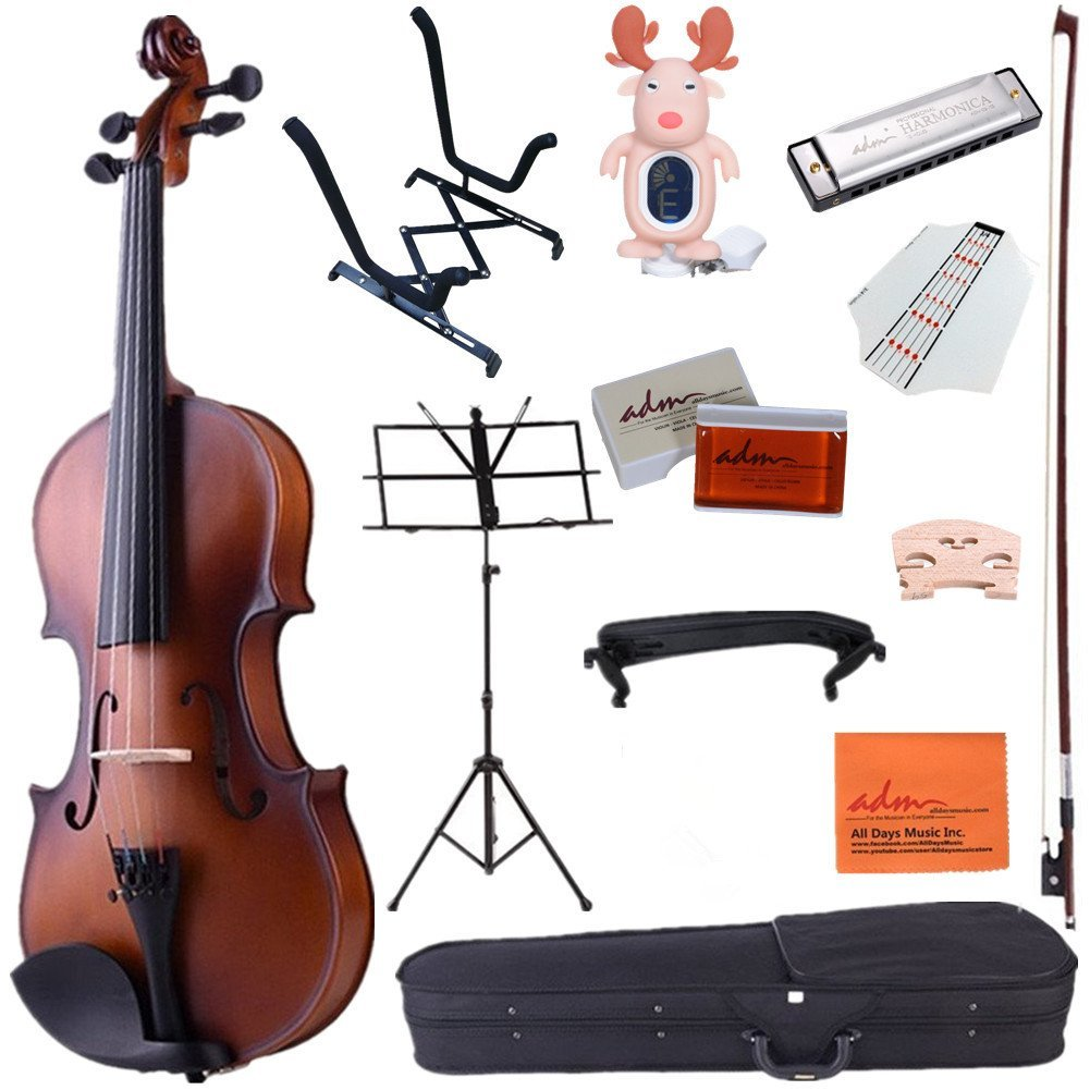 ADM 4 4 Full Size Handcrafted Solid Wood Student Acoustic Violin Starter Kits, Beginner... by Adm