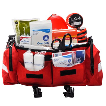 School First Aid & Active Shooter Emergency Kit Red Bag by (Best Active Shooter Bag)