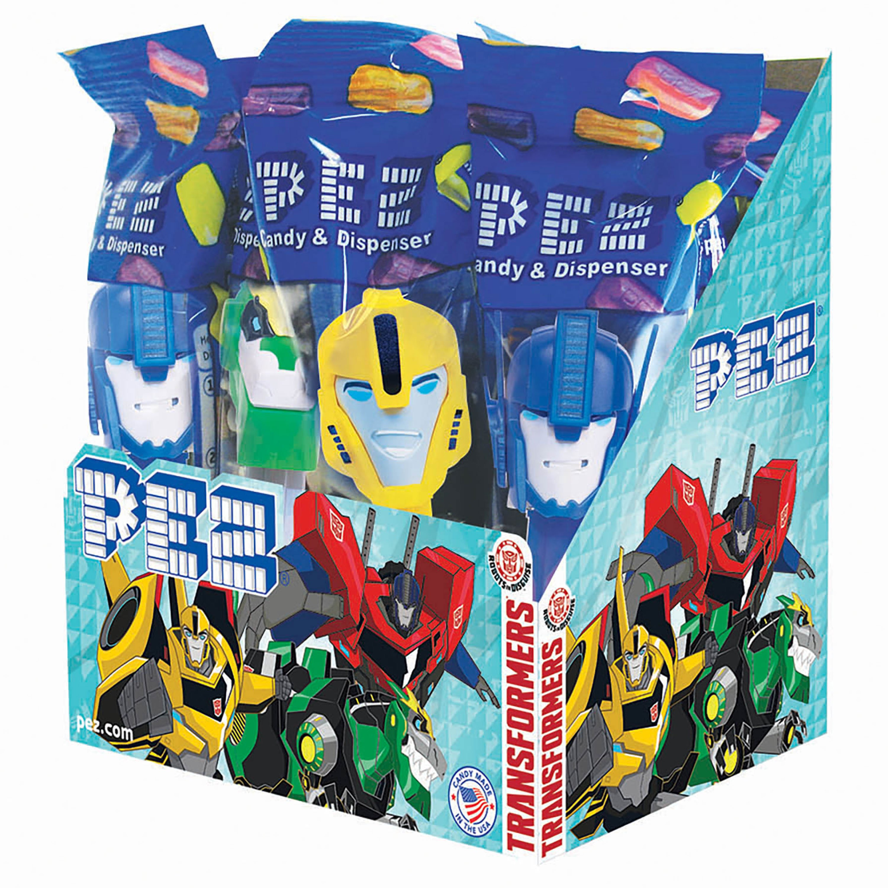 PEZ Candy Transformers Assortment (Robots in Disguise), candy dispenser plus 2 rolls of assorted fruit candy, box of 12