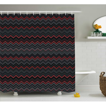 Red and Black Shower Curtain, Zigzag Chevron Design with Bold Thin Layers Print, Fabric Bathroom Set with Hooks, 69W X 70L Inches, Light Grey Charcoal Grey and Scarlet, by Ambesonne ()