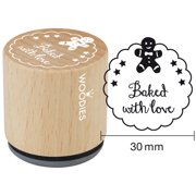 """Woodies Mounted Rubber Stamp 1.35""""-Baked With Love"""