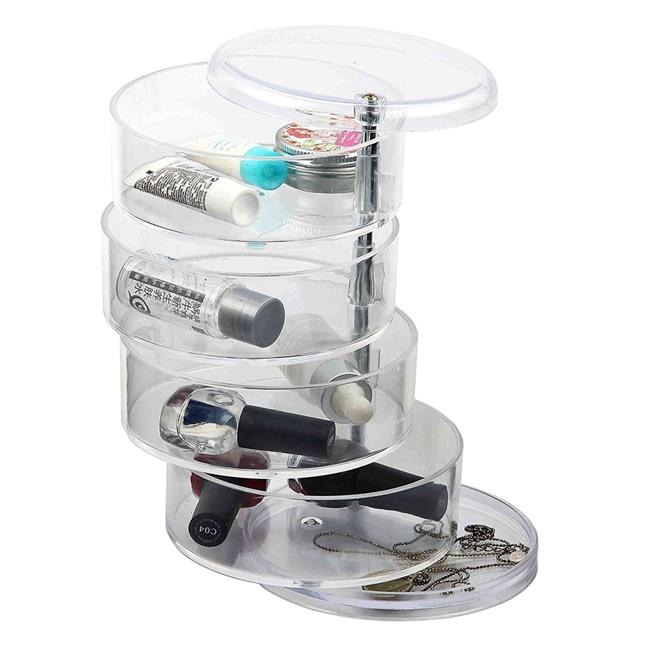 Home Basics MH49522 4Section Swivel Makeup Jewelry Organizer Tray