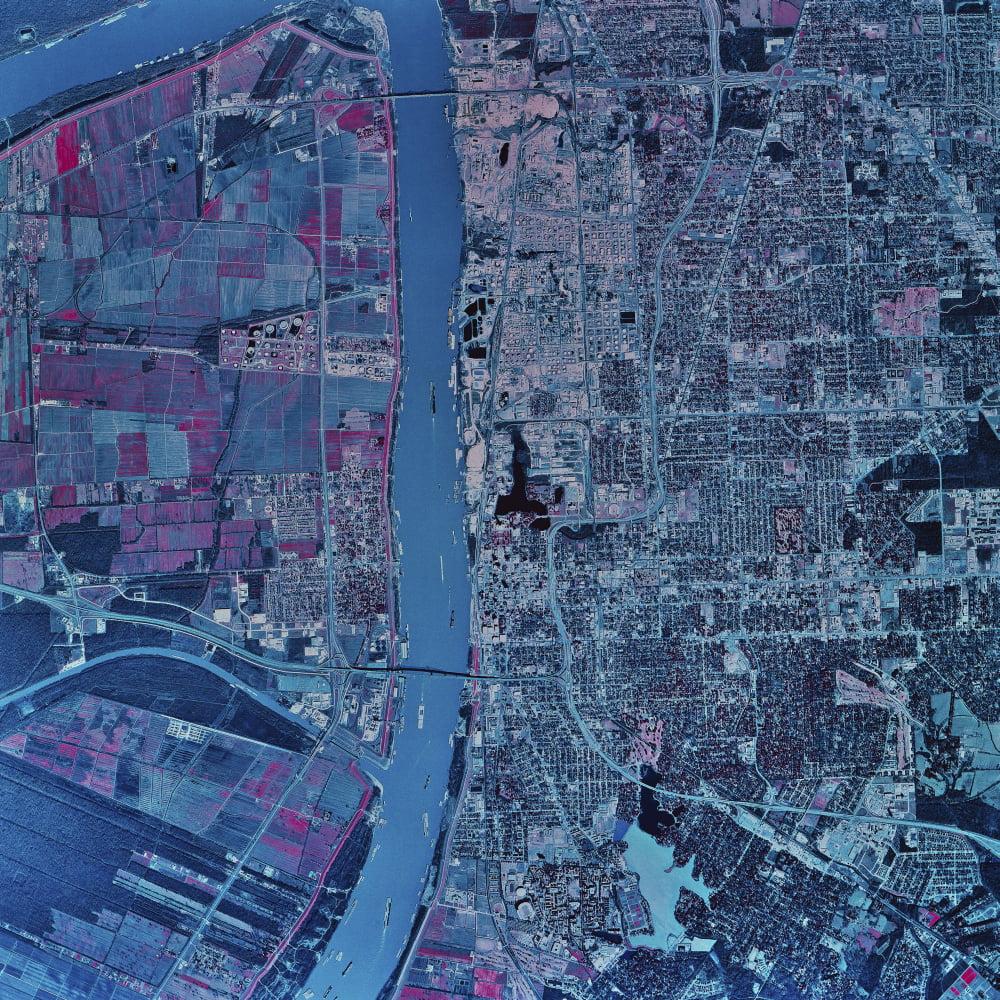 Satellite View Of Baton Rouge Louisiana Canvas Art