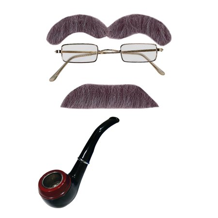 Old Man Mustache Eyebrows Square Glasses Pipe Halloween Costume Accessories