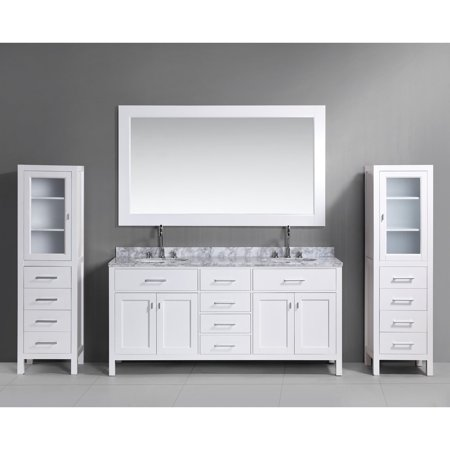 London 72 In Double Sink Vanity Set With Two Matching Linen Cabinets Walma