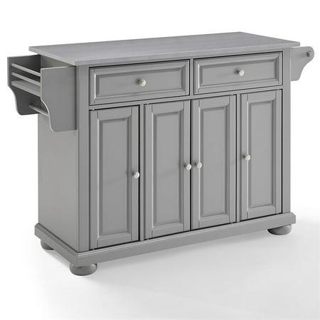 Crosley Furniture Alexandria Stainless Steel Top Kitchen Island In Vintage  Grey