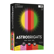 """Astrobrights Color Paper - """"Vintage"""" 5-Color Assortment, Solar Yellow, Pulsar Pink, Re-entry Red, Orbit Orange, Gamma Green, 500 / Ream (Quantity)"""