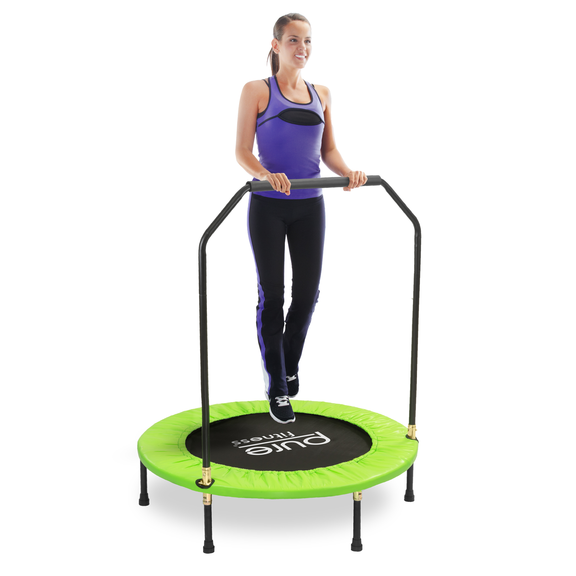 Pure Fun 40-Inch Exercise Trampoline, with Handrail, Green