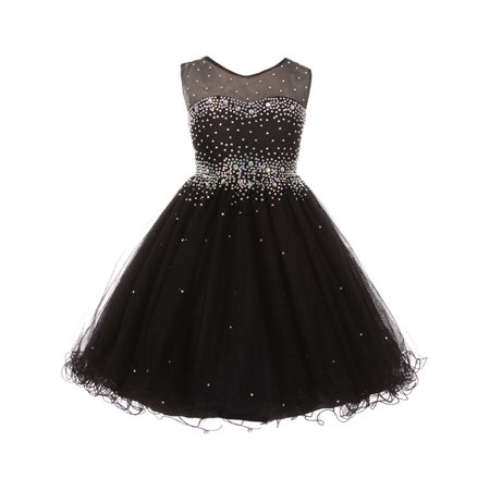 Girls Black Sparkling Rhinestone Illusion Tulle Party Formal Dress (Black Dresses Girls)