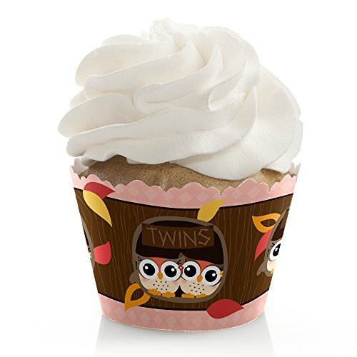 Owl Girl - Look Whooo's Having Twins - Party Cupcake Wrappers (set of 12)