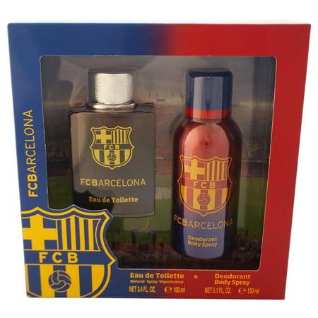 FC Barcelona FC Barcelona 2 Pc Gift Set 3.4oz EDT Spray, 5.1oz Body (Fc Barcelona Badge)