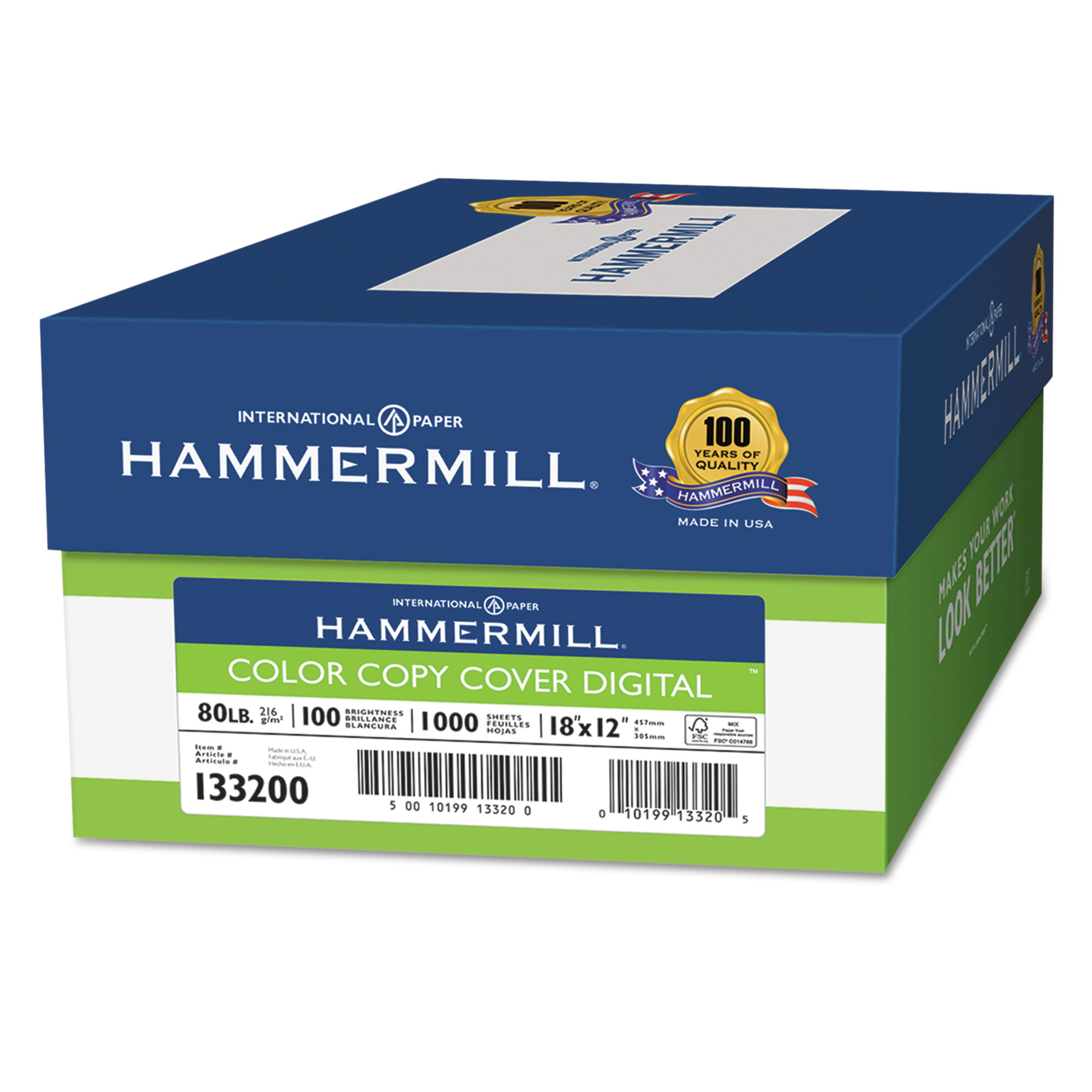 Hammermill Copier Digital Cover Stock, 80 lbs., 18 x 12, Photo White, 1000 Sheets