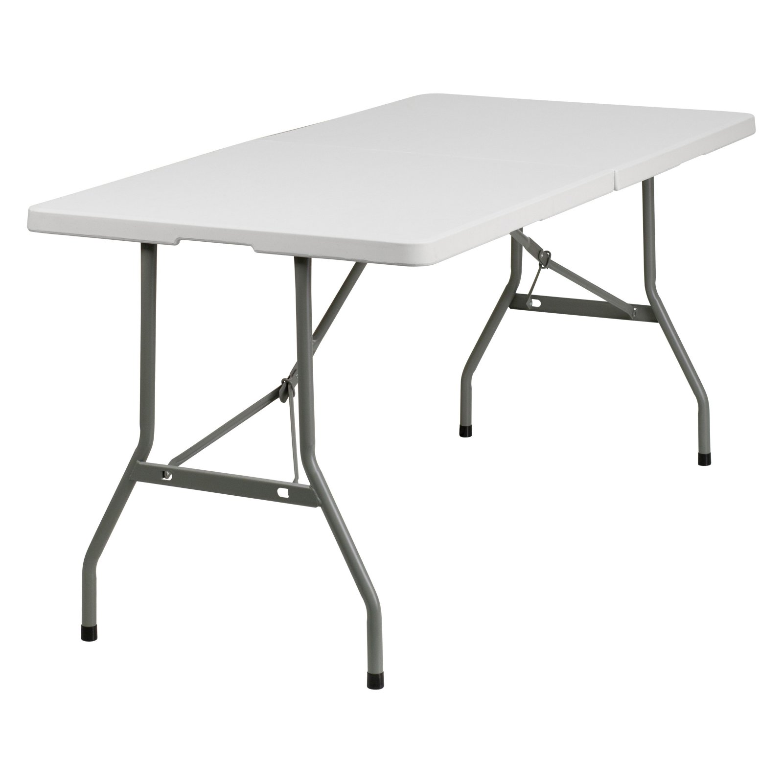 Flash Furniture 30''W x 60''L Bi-Fold Granite White Plastic Folding Table by Flash Furniture