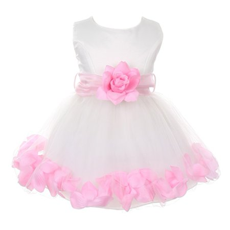 Baby Girls Ivory Pink Floral Petals Organza Sash Flower Girl Dress (Best Wishes For Newborn Baby Girl)