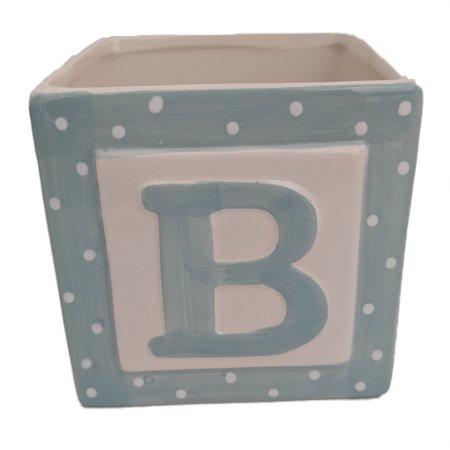 Blue Baby Block Ceramic Planter - 3.75