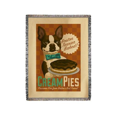 Boston Terrier - Retro Cream Pie Ad - Lantern Press Artwork (60x80 Woven Chenille Yarn