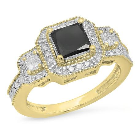 Dazzlingrock Collection 2.00 Carat (ctw) 10K Princess & Round Black & White Diamond Engagement Ring, Yellow Gold, Size 5