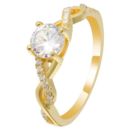 Queena Twisted 14KT Gold over Sterling CZ Engagement Wedding Bridal Ring (Gold Twist Ring)