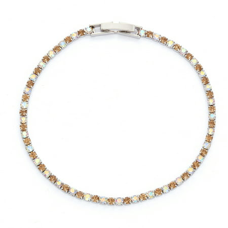 X & O Rhodium Plated Crystal Single Row Bracelet in Light Colorado Topaz and Crystal AB Combination