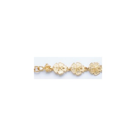 Solid 14k Yellow Gold Sand Dollar Bracelet - with Secure Lobster Lock Clasp 8
