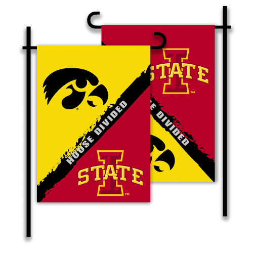 Bsi Products Inc Iowa - Iowa State 2-Sided Garden Flag - Rivalry House Divided Garden Flag
