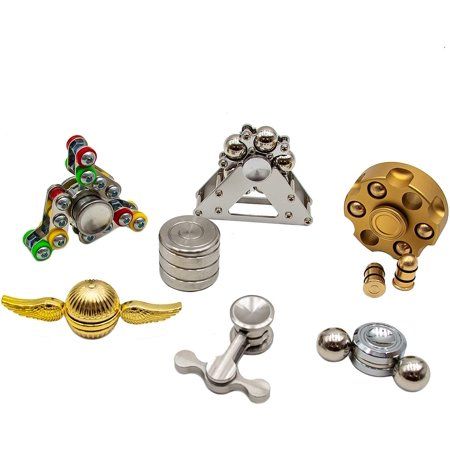 B-THERE Fidget Spinners & Toys Set of 7 Metal fidgets for Adults Teens Kids - Best for ADHD, Sensory, Calm Down, Stress Relief, Desktop - Golden Fidget, Magnetic, Pendulum, Revolver, Cylinder, & More thumbnail