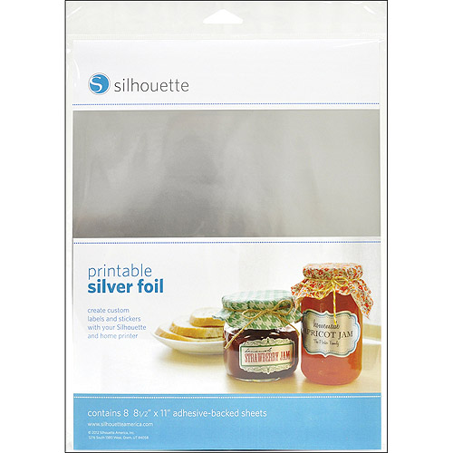 "Silhouette Printable Adhesive Foil, 8-1/2"" x 11"", 8/pkg, Silver"