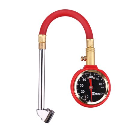 Spring Pressure Tester (WYNNsky Air Tire Pressure Gauge 5-75PSI Dial Meter Tester With Dual Head Chuck/Storage)