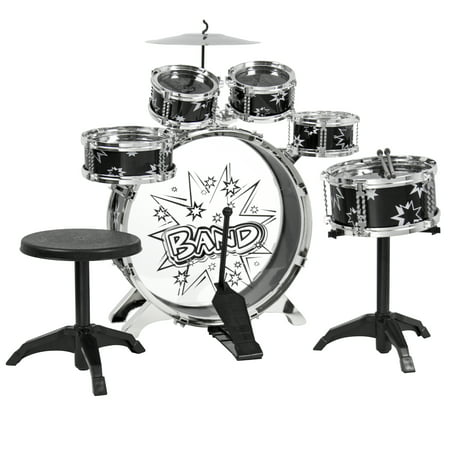 BCP Kids Toy Musical Instrument 11 Piece Kids Drum Set W  Bass Drum, Tom Drums, Cymbal,... by