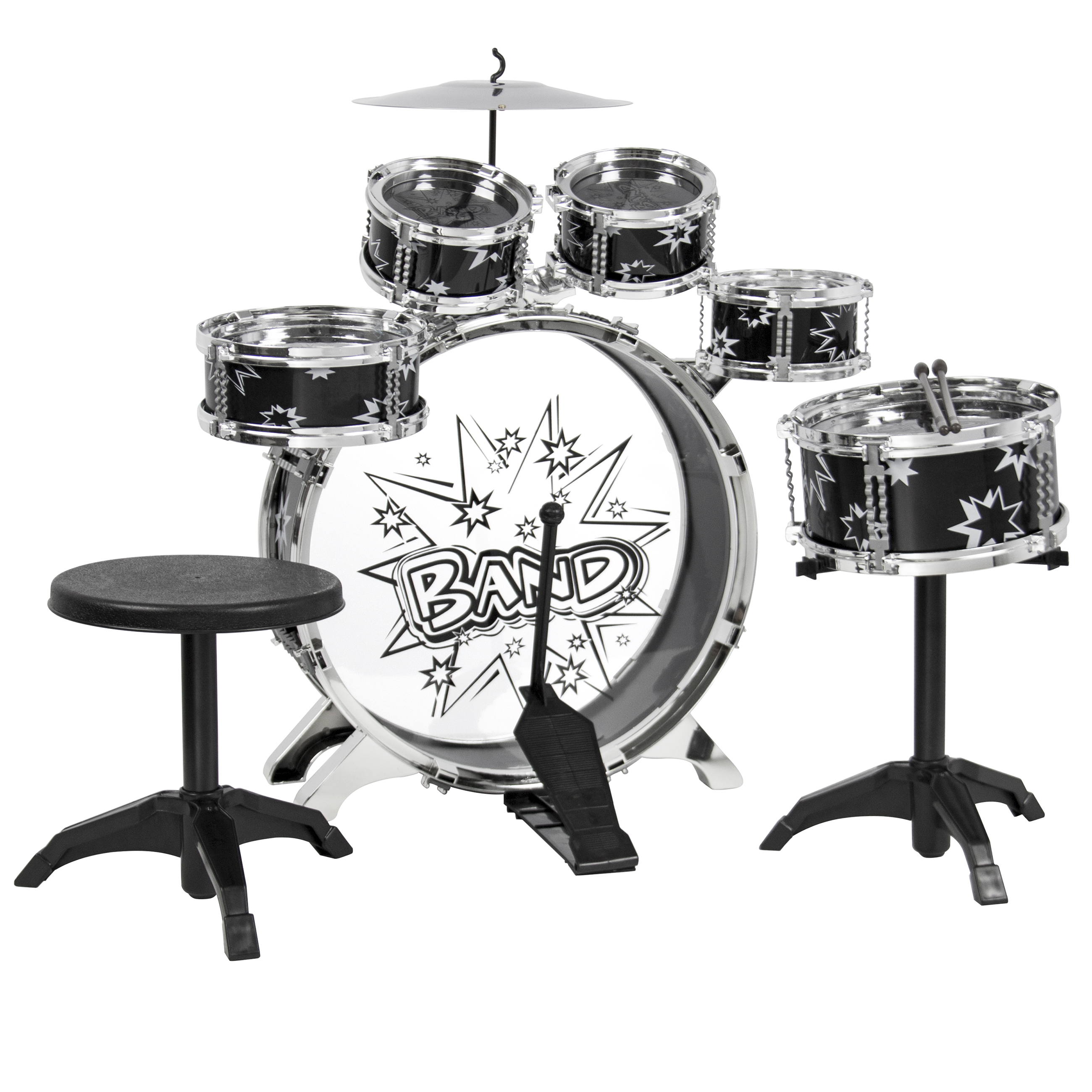 BCP Kids Toy Musical Instrument 11 Piece Kids Drum Set W/ Bass Drum, Tom Drums, Cymbal, Stool, Drumsticks Drum Kit