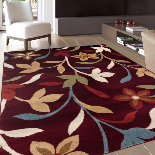 Modern Contemporary Burgundy Polypropylene Leaves Design Area Rug or Runner