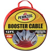 Pennzoil Jumper Cable 4 Gauge 12 to 25 Foot Heavy Duty Battery Booster