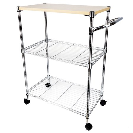 Lowestbest 3 Tiers Kitchen Island for Home, Portable Kitchen Cart on  Wheels, Kitchen Cart Storage with Drawer and Basket, Movable Rolling  Kitchen ...