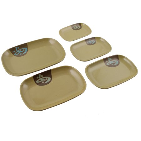 Household  Rectangle Food Fish Sushi Holder Plate Dish Army Green 5 in 1