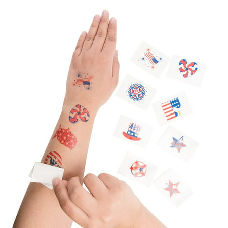 15 Patriotic American Flag Theme Washable Temporary Tattoos For