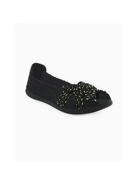 Heal USA Ellen-blk-gldtdrp-10 Ellen Women Peep Toe Ballet Flats, Balck & Gold Teardrop - Size 10
