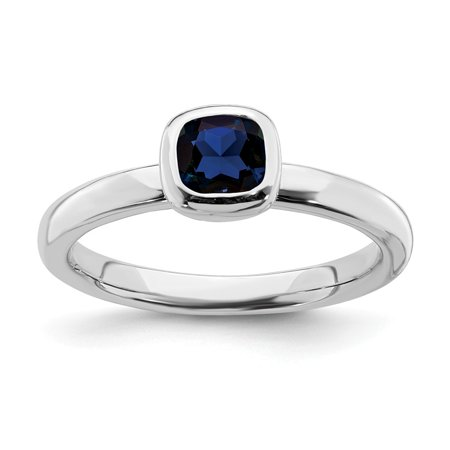 Roy Rose Jewelry Sterling Silver Stackable Expressions Cushion Cut Created Sapphire Ring Size 10
