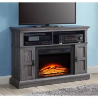 Whalen Media Console Weathered Wood Fireplace w/Remote Home TV Stand up to 55