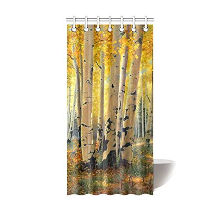 HelloDecor Birch Tree Shower Curtain Polyester Fabric Bathroom Decorative Size 36x72 Inches