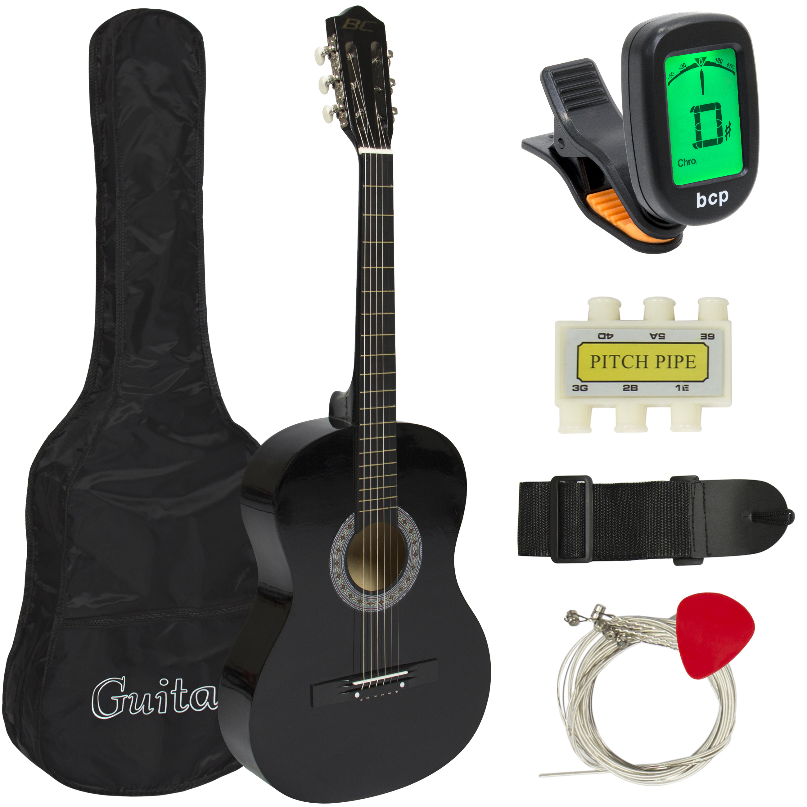 Best Choice Products Beginners 38'' Acoustic Guitar with Case, Strap, Digital E-Tuner, and... by Best Choice Products
