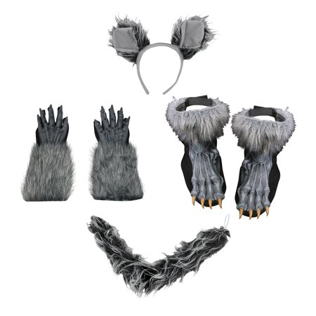 Werewolf Wolfman Ears Tail Kit Gloves Shoes Grey Costume Set Halloween Accessory - Werewolf Ears And Tail