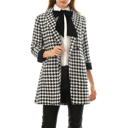 Women Houndstooth Pattern Double Breasted Worsted Coat